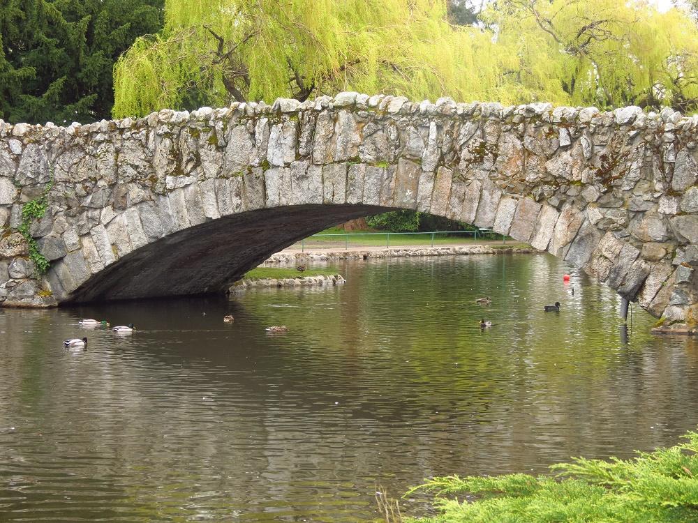 Stone bridge In Beacon Hill Park, Vancouver Island, BC