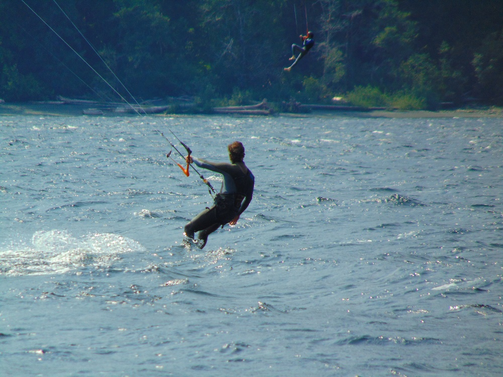 Wind Surfing off the shores of Nimpkish Lake Campsite.